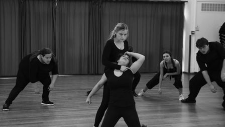 Students at the UEA rehearse for Boudica. Photo: Millie Amies