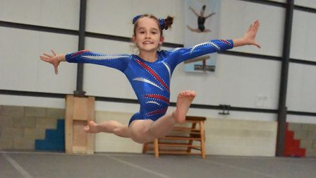 Megan Baxter, eight, during training at The Norfolk Academy of Gymnastics at Attleborough. Picture: