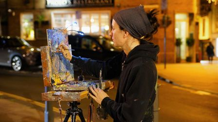 Artist Emily Faludy painting a nocturne during Paint Out Norwich. Picture: Katy Jon Went