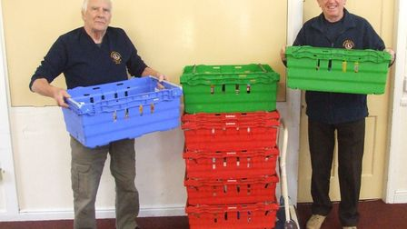 Swaffham Lions have been collecting for the food bank. (L-R): Mike Stenning and Dennis Tallon. Photo
