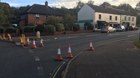 Emergency repairs to a sewer have led to the closure of Kett's Hill in Norwich. PIC: Peter Walsh.