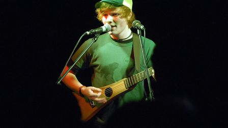 Ed Sheeran performing in the Next Big Thing semi-finals at The Brickmakers pub in Norwich, 2008. Ph