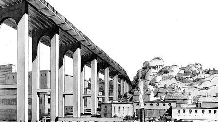 The impression of the Bracondale viaduct from the City of Norwich Plan 1945 report. Photo: Archive