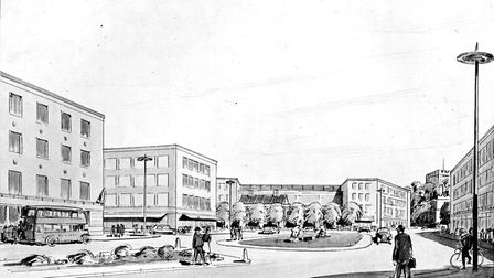 A photo of how Orford Place could have been rebuilt after the war in the City of Norwich Plan 1945.