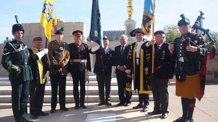 The great nephew of Lance Cpl Ernest Seaman VC, Martin Goodrick, fourth right, with other dignitarie