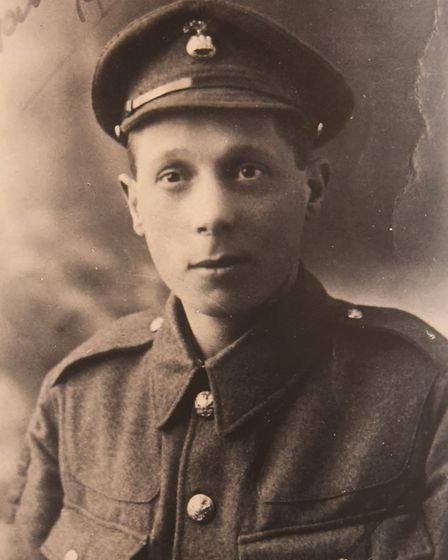 Lance Cpl Ernest Seaman VC, who is now named on a commemorative stone at the Norwich War Memorial. P