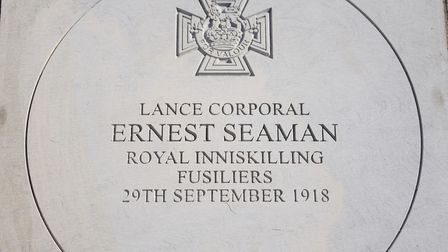 The commemorative stone to Lance Cpl Ernest Seaman VC at the Norwich War Memorial. Picture: DENISE B