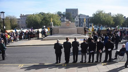 The commemoration service of Lance Cpl Ernest Seaman VC at the Norwich War Memorial. Picture: DENISE