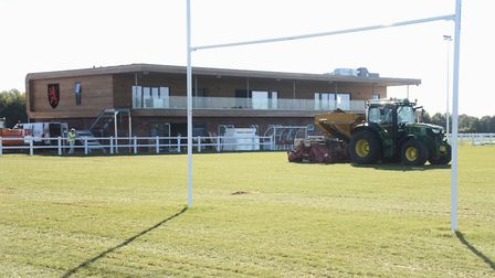 Work on the new pitches at the Wymondham Rugby Club build which is nearing completion. Picture: DENI