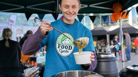 Emma from Food Cycle Norwich with their tasty pumpkin soup. Picture: Food Cycle Norwich