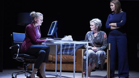 Anna Andresen as Dr Tamara, Sharon Small as Alice and Eva Pope as Herself in Still Alice. Photo: Ger
