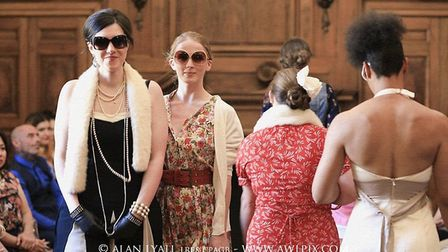 Szabina and Bertie taking part in the Woman's Vintage Fashion Show. Picture: Alan Lyall