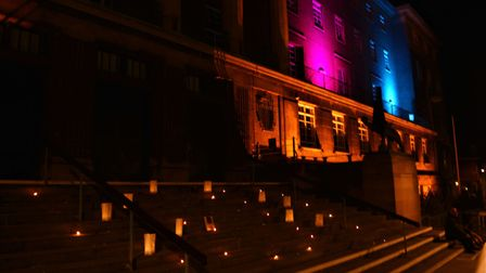 City Hall lit up in pink and blue to mark last year's Baby Loss Awareness Week. Photo: Robert Goreha