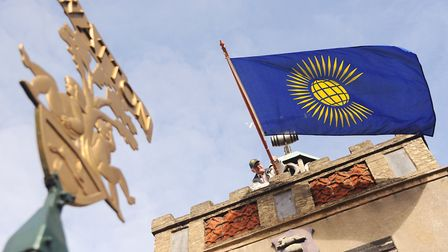 The Commonwealth Day flag flying on Watton's clock tower. Picture: Ian Burt