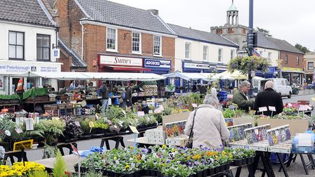 The market on Watton High Street where there arre plans to make the town more picturesque. Picture: