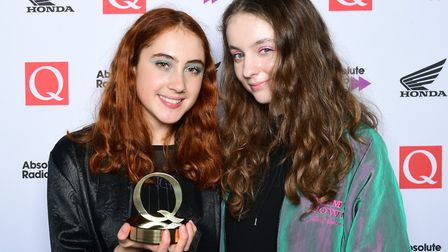 Jenny Hollingworth (right) and Rosa Walton of Let's Eat Grandma winners of the Q Best Album Award in