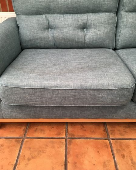 The damaged Sofology sofa which in Paul and Claire Melton's conservatory. Picture: Claire Melton