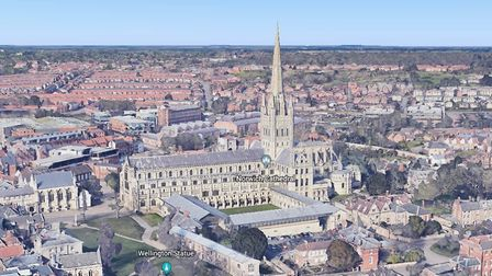 Norwich Cathedral. Photo: Google Earth