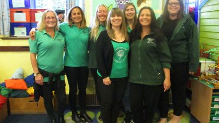 The group of nursery practitioners from Treehouse Children's Centre in Norwich who are fundraising f