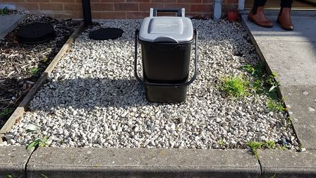 Mr and Mrs Armes' food waste bin outside their house on Defiant Road. Picture: Kayleigh Armes