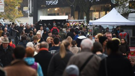 Crowds of people shopping in Norwich.Picture: ANTONY KELLY