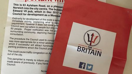 People posted on social media that the flyer was accompanied by a 'For Britain' political pamphlet.