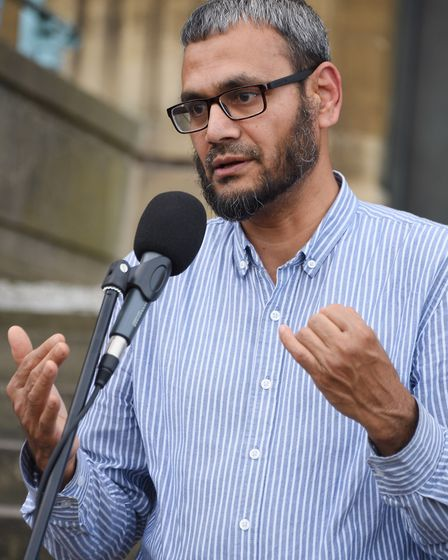 Sirajul Islam from the Norwich Central Mosque speaks at the Vigil in support of the Manchester victi