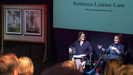 Cathy Warnock (L), Swaffham Rotary, and Rebecca Louise Law (R) taking questions from the audience. P