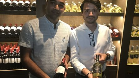 Passionate about good food and wine, Norwich Veeno manager Chakradhar Rai with CEO and Co-founder N