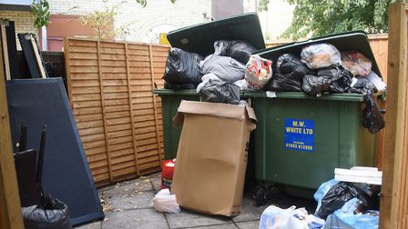 Overflowing rubbish at the flats in St Faith's Lane. Picture: DENISE BRADLEY