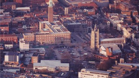Norwich Library Fire. Pictured: Aerial view of Norwich. Date: Feb 1996. Picture: EN LIBRARY / J NICH