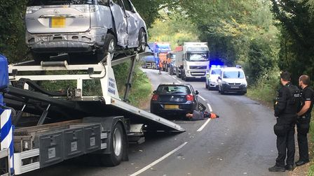 A vehicle is recovered after a two-car crash this morning on the B1077. PHOTO: Simon Parkin