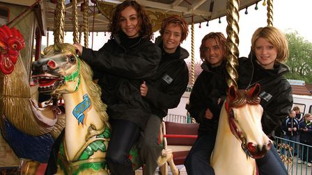 Irish girl pop band Bewitched at Drayton Manor Park, in Staffordshire. in 2001. L-R : Lindsay Armaou