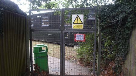 The Attleborough Primary School gate at the rear of the school allowing access to Norwich Road, whic