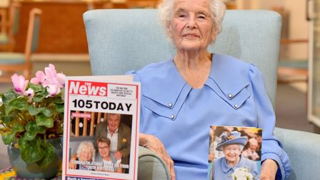 Betty Biggs celebrates her 105th birthday at Barley Court, Norwich.Picture: Nick Butcher