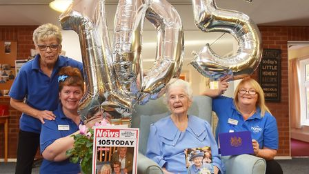 Betty Biggs celebrates her 105th birthday with some of the staff from Barley Court, Norwich.Picture: