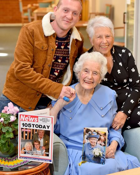 Betty Biggs celebrates her 105th birthday at Barley Court, Norwich with her daughter-in-Law Ann Bigg
