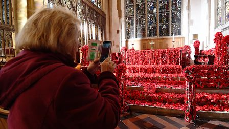 A display of thousands of poppies at St Peter Mancroft Church, in Norwich, to mark the centenary of