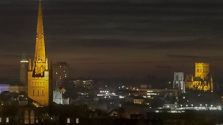 The source of a mystery light in Norwich has been found. File photo of Norwich at night, Picture Tom