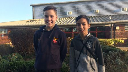 Will Bailey and Ashton Purewal in Kett's park, who helped emergency services rescue an injured man f