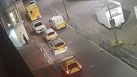 Emergency service vehicles down Geoffrey Watling Way (Image: submitted)
