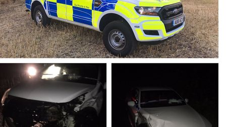 Two cars were damaged in a collision near Hellington on Friday night. PHOTO: South Norfolk Police Tw
