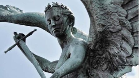 The Peace statue, at the junction of Agricultural Hall Plain and Castle Meadow, Norwich. Photo: Talk