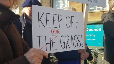 Protests outside City Hall in Norwich over Heigham Park tennis courts. Photo: Neil Perry