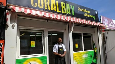 Conroy Robinson opened a Carribean takeaway on Great Yarmouth Market in 2017. Credit: George Ryan