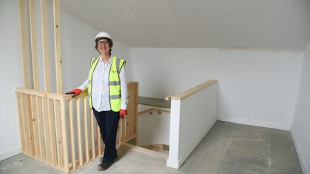 Gail Harris, deputy leader of the city council in one of the four bedroom houses at the new Passivha