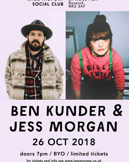 Ben Kunder and Jess Morgan's Norwich Shoe Factory Social Club gig poster. Photo: Courtesy of Jess Mo