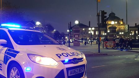 Police outside Norwich Station after incident between group of men
