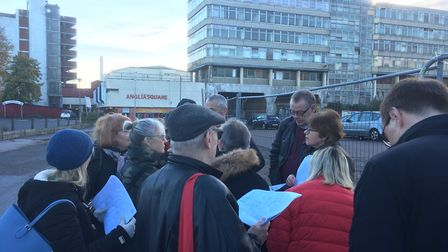 Members of Norwich City Council's planning committee carry out a site visit at Anglia Square. Pictur