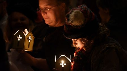 Candles are lit during the Service of Light at Norwich Cathedral for Armistice Day. Picture: DENISE